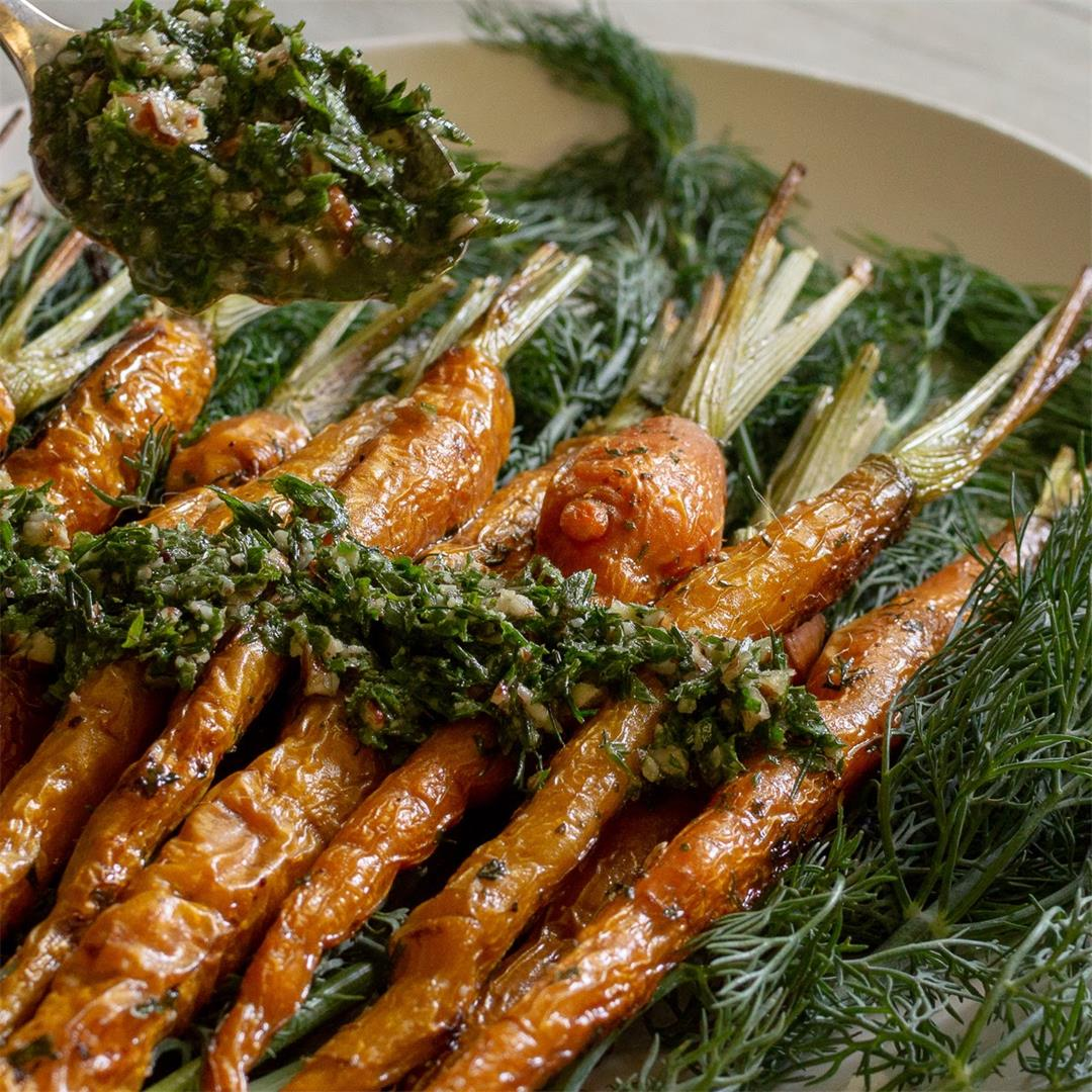 Roasted Carrots and Dill Pesto