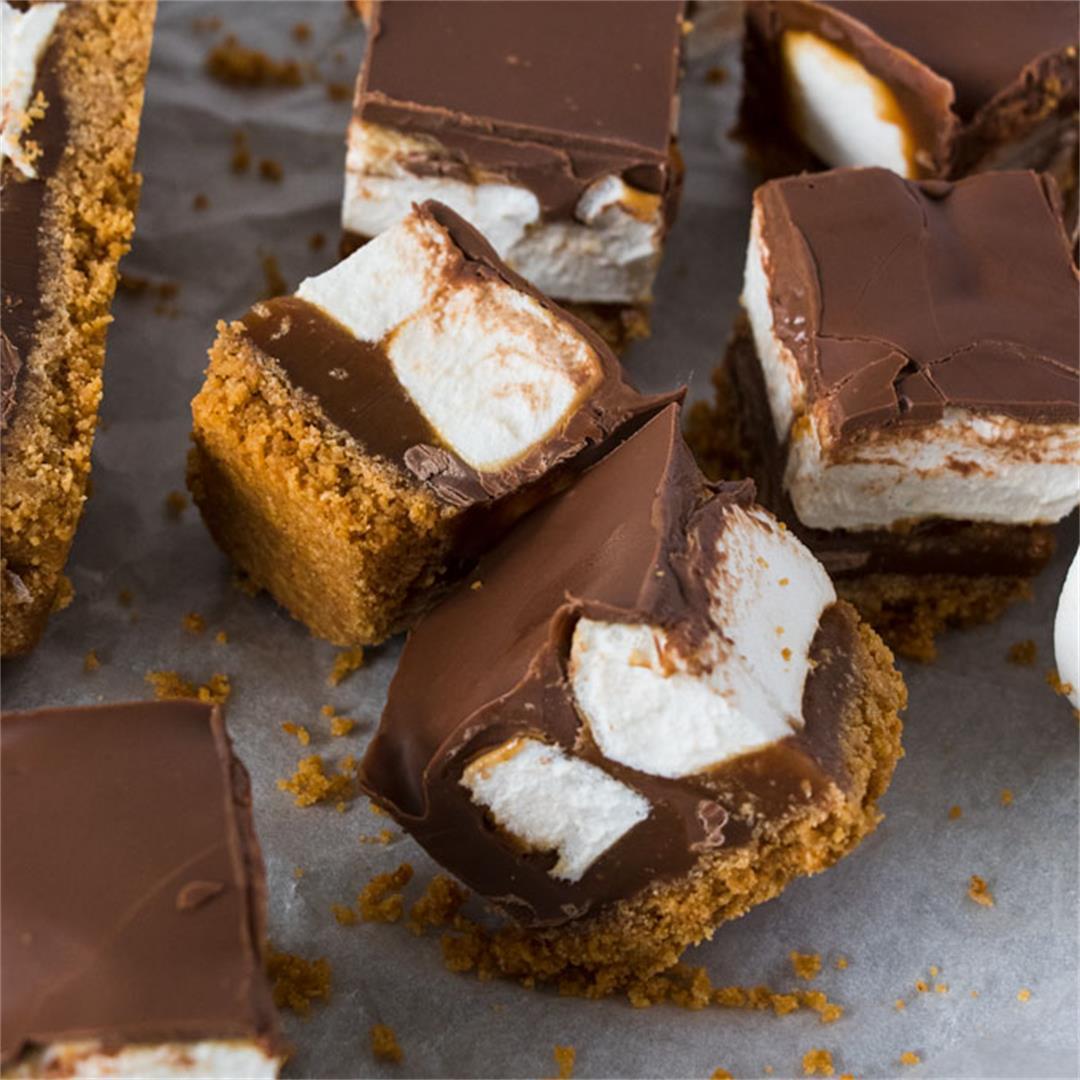 Caramel Chocolate Marshmallow Cookie Bars