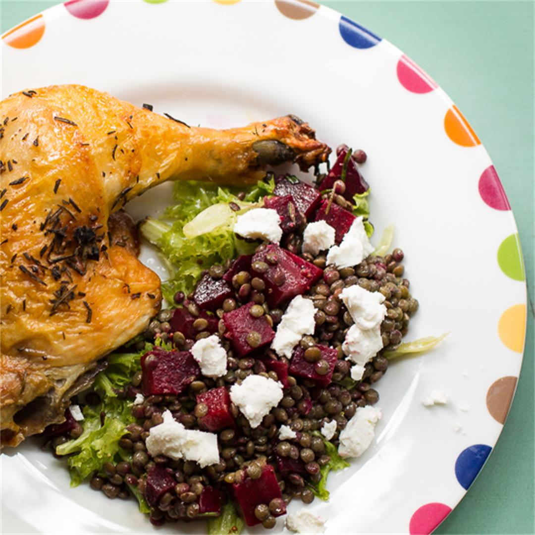 French Lentil Salad with Beets and Goat Cheese