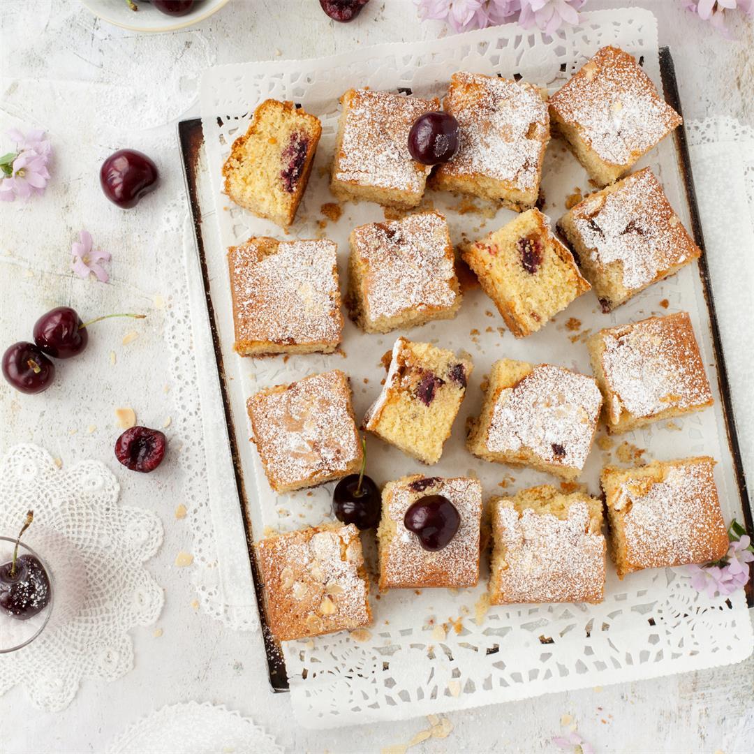 Gluten Free Roasted Cherry Almond Traybake