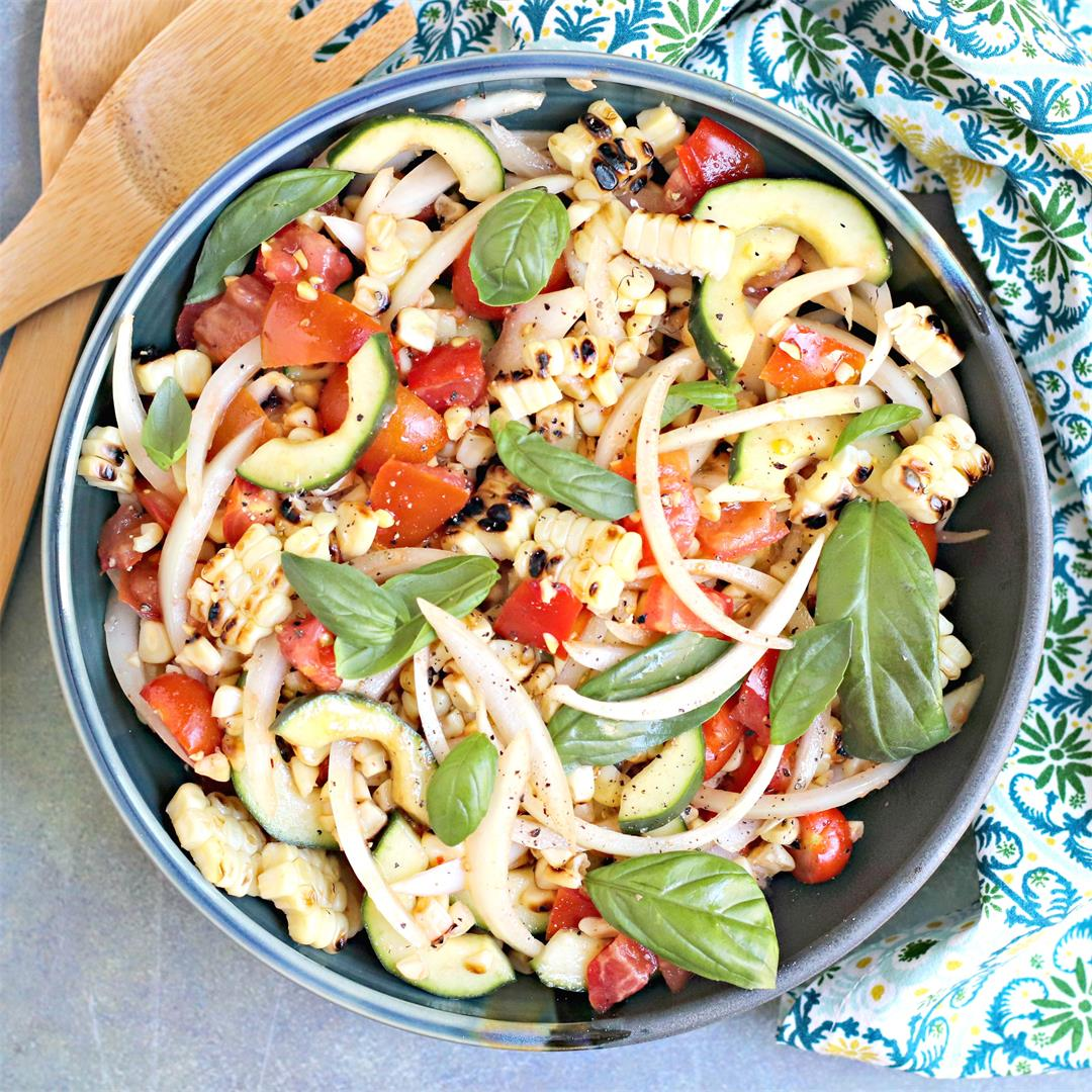 Grilled Corn Tomato Cucumber Salad