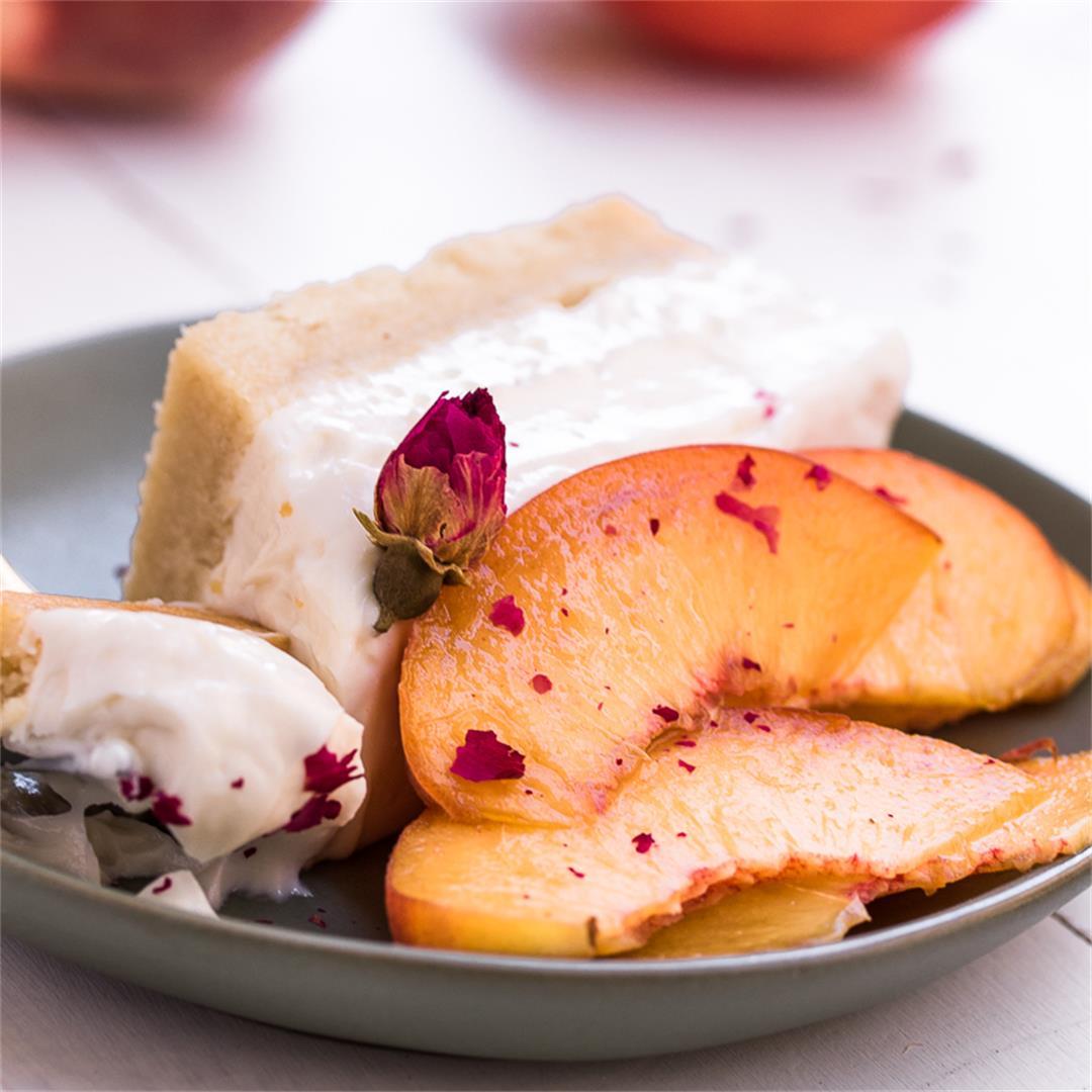 Vegan Cheesecake with Peaches