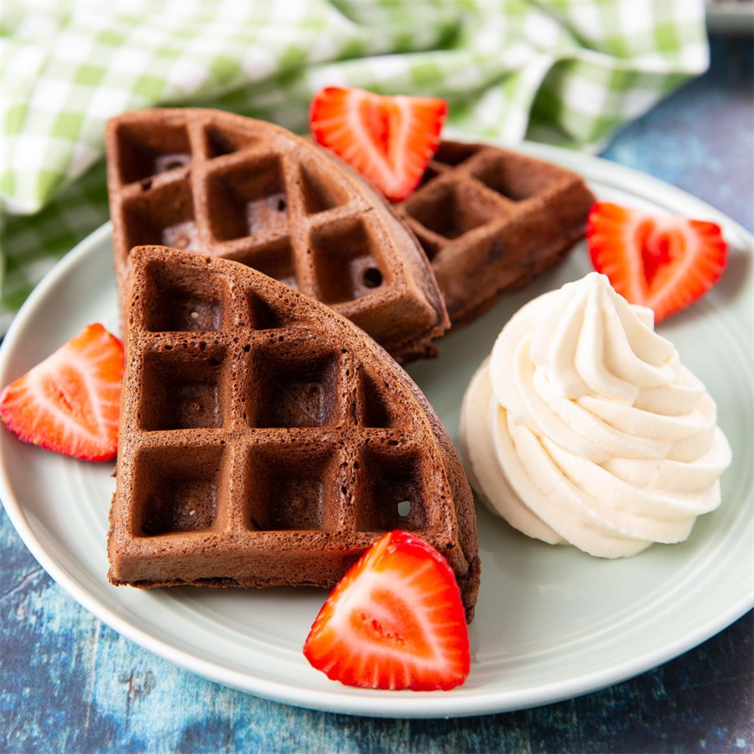 Chocolate Waffles with Kahlúa Mascarpone Cream