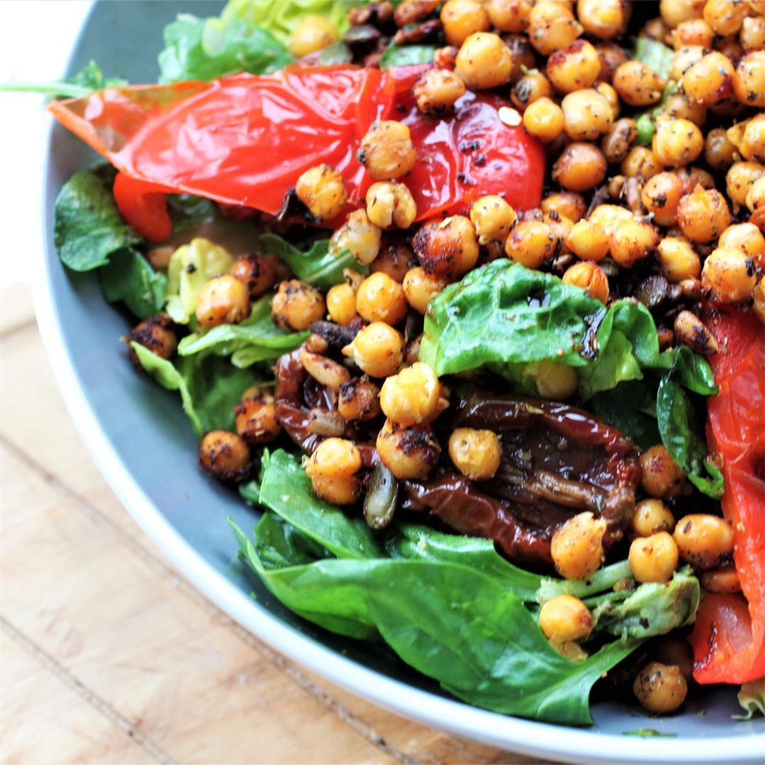 Roasted Chickpea Pesto Salad (Vegan, GF)