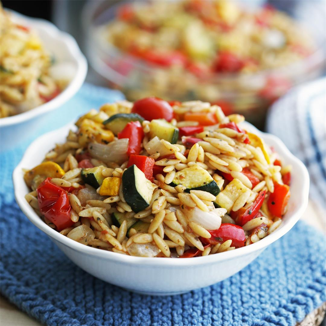 Roasted Vegetable Orzo Pasta with Dijon-Balsamic Vinaigrette