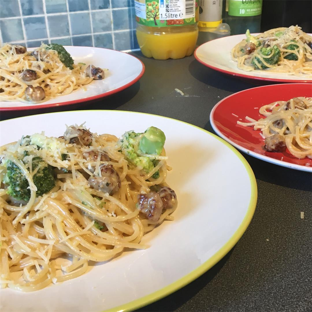 Sausage & Broccoli Carbonara. The kids love this one!