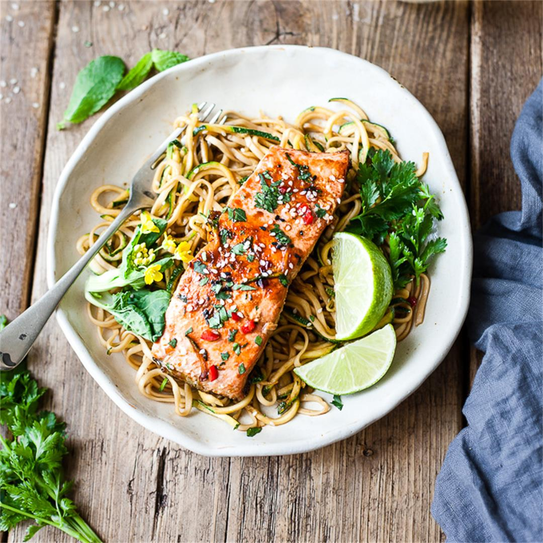 Maple Glazed Salmon Pan Fried with Zoodles