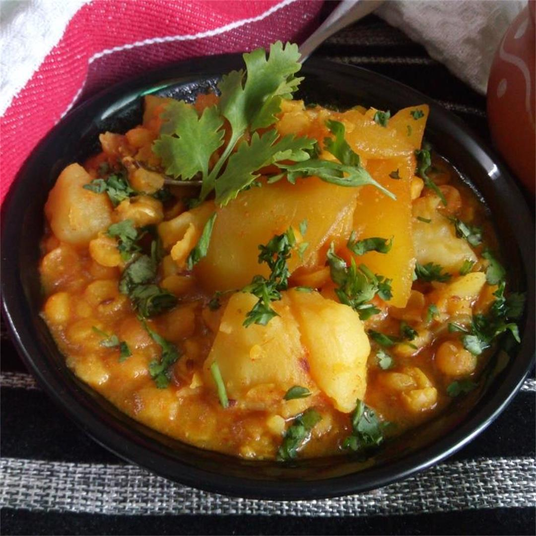 Curried Bengal Gram Lentils and Potatoes