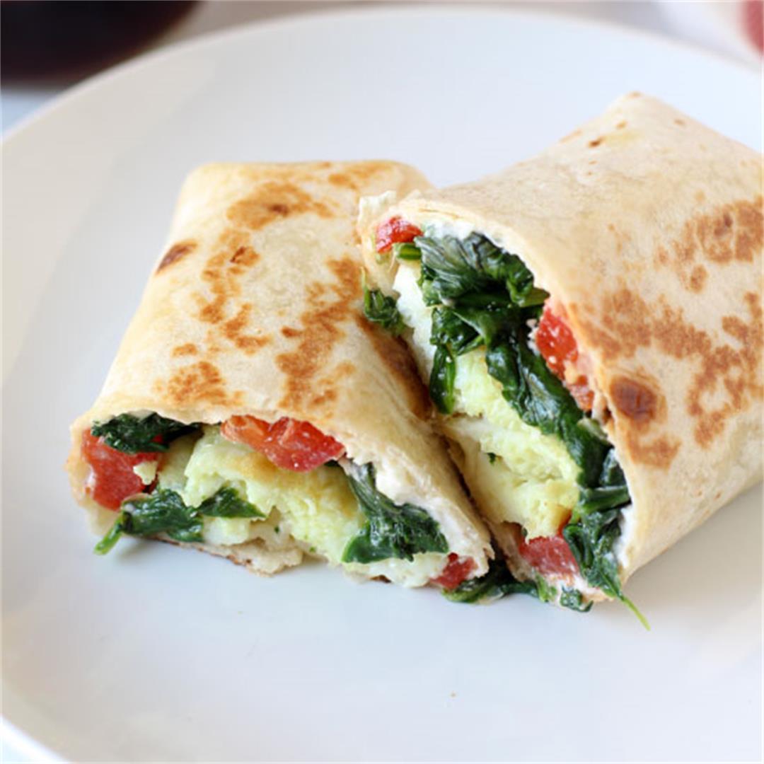 Spinach Feta Egg White Wraps