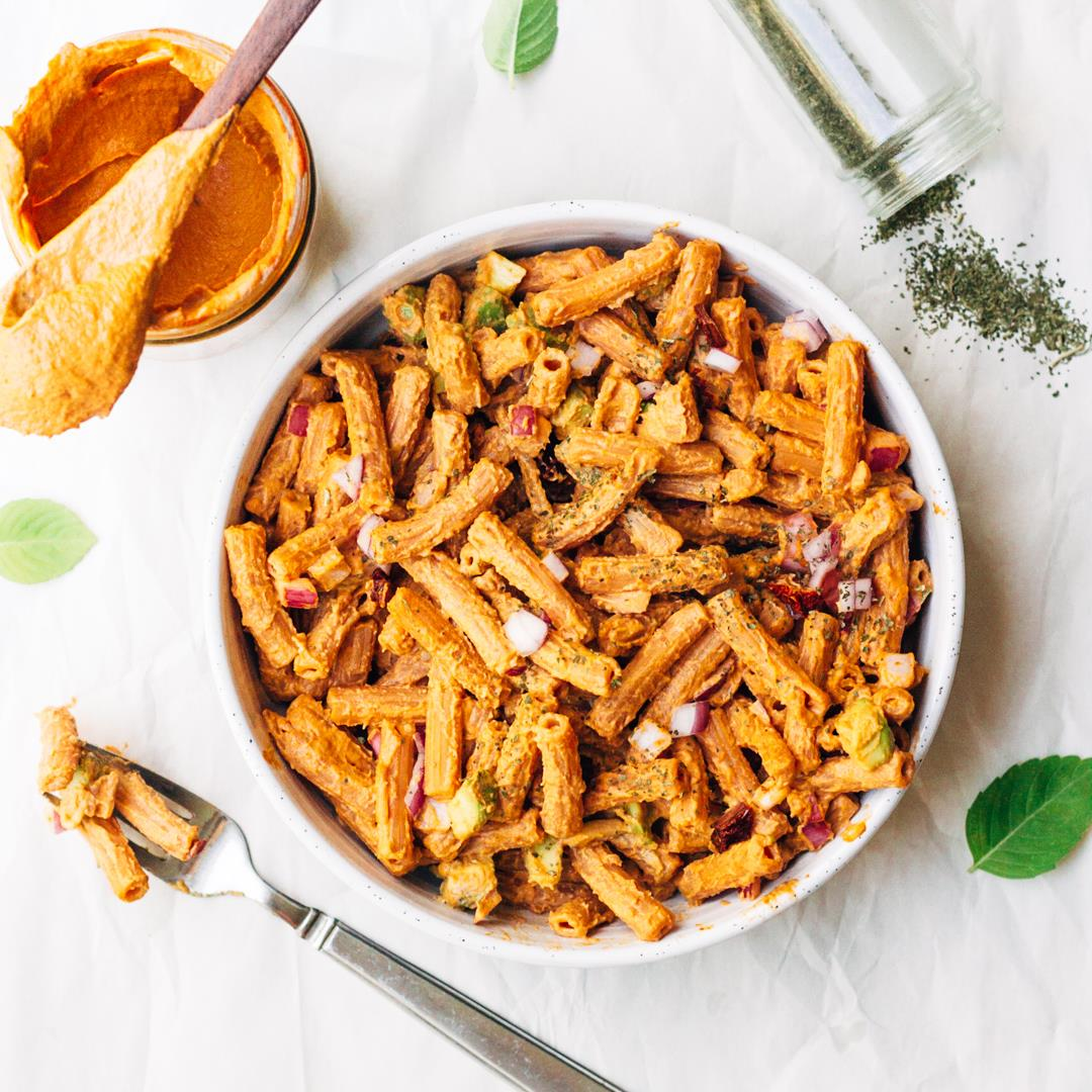 Red lentil pasta with vegan creamy sundried tomato garlic sauce