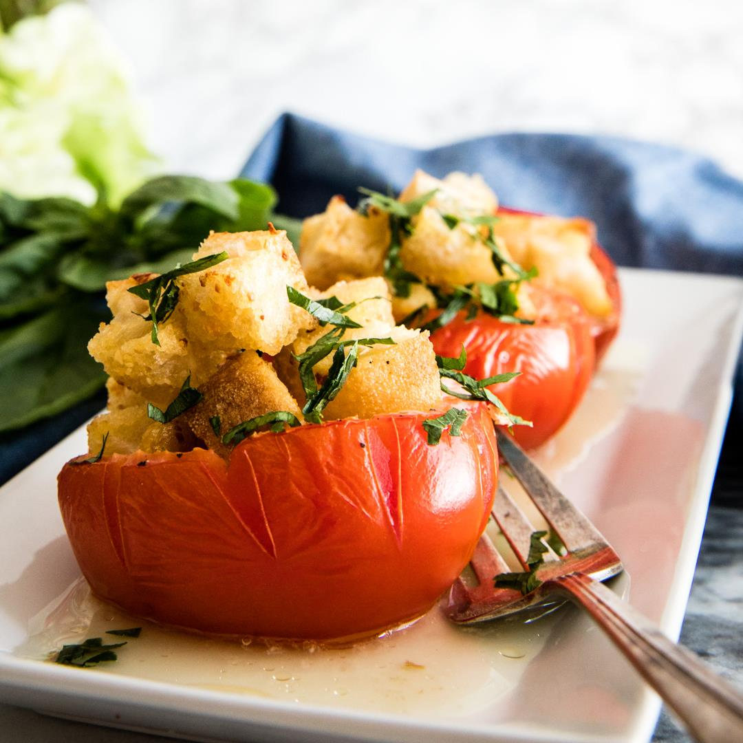 Egg-Stuffed Baked Tomatoes with Garlic Croutons