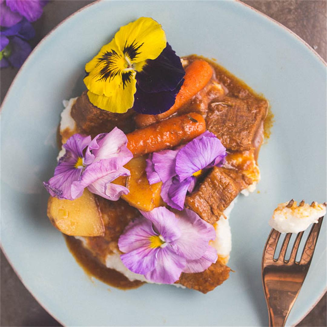 Beef Stew with Edible Flowers