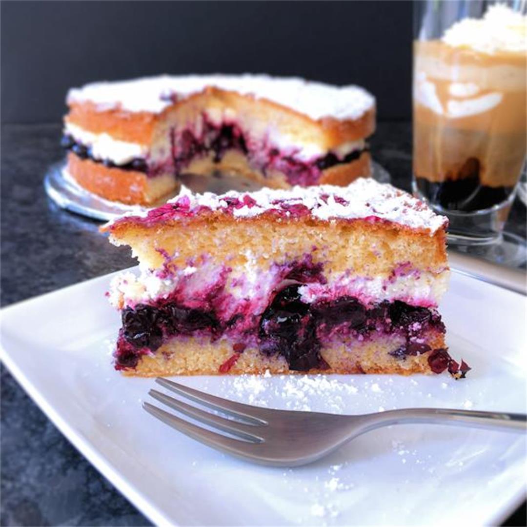 Blueberry cream Victoria sponge cake