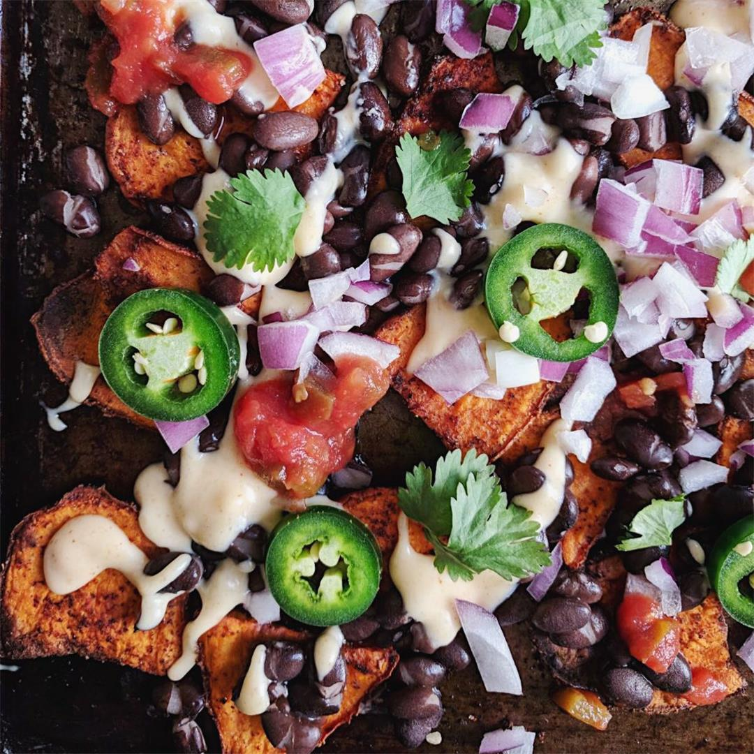 Spicy Sweet Potato Nachos with Homemade Queso!