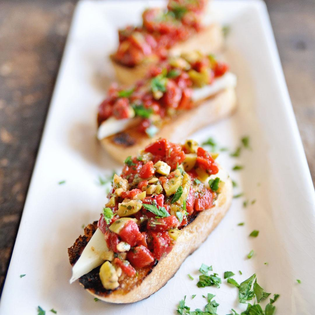 Bruschetta with Roasted Peppers and Spanish Olives