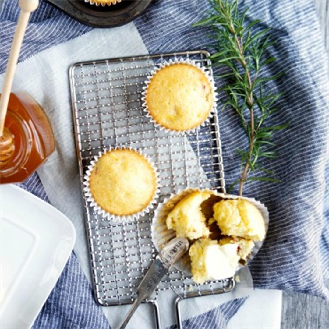 Rosemary Honey Cornbread Muffins