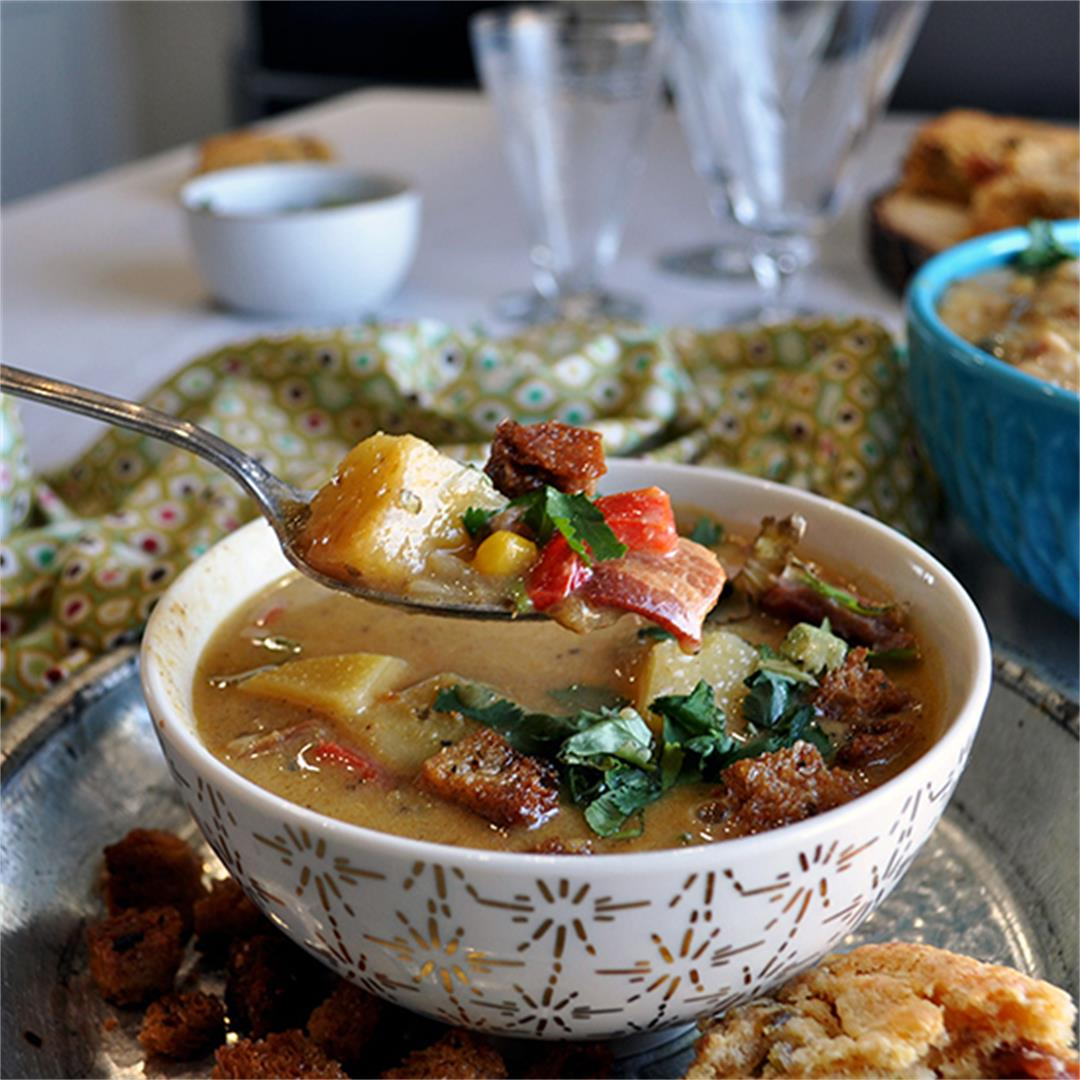 Potato Corn Chowder with Bacon and Roasted Poblano Peppers