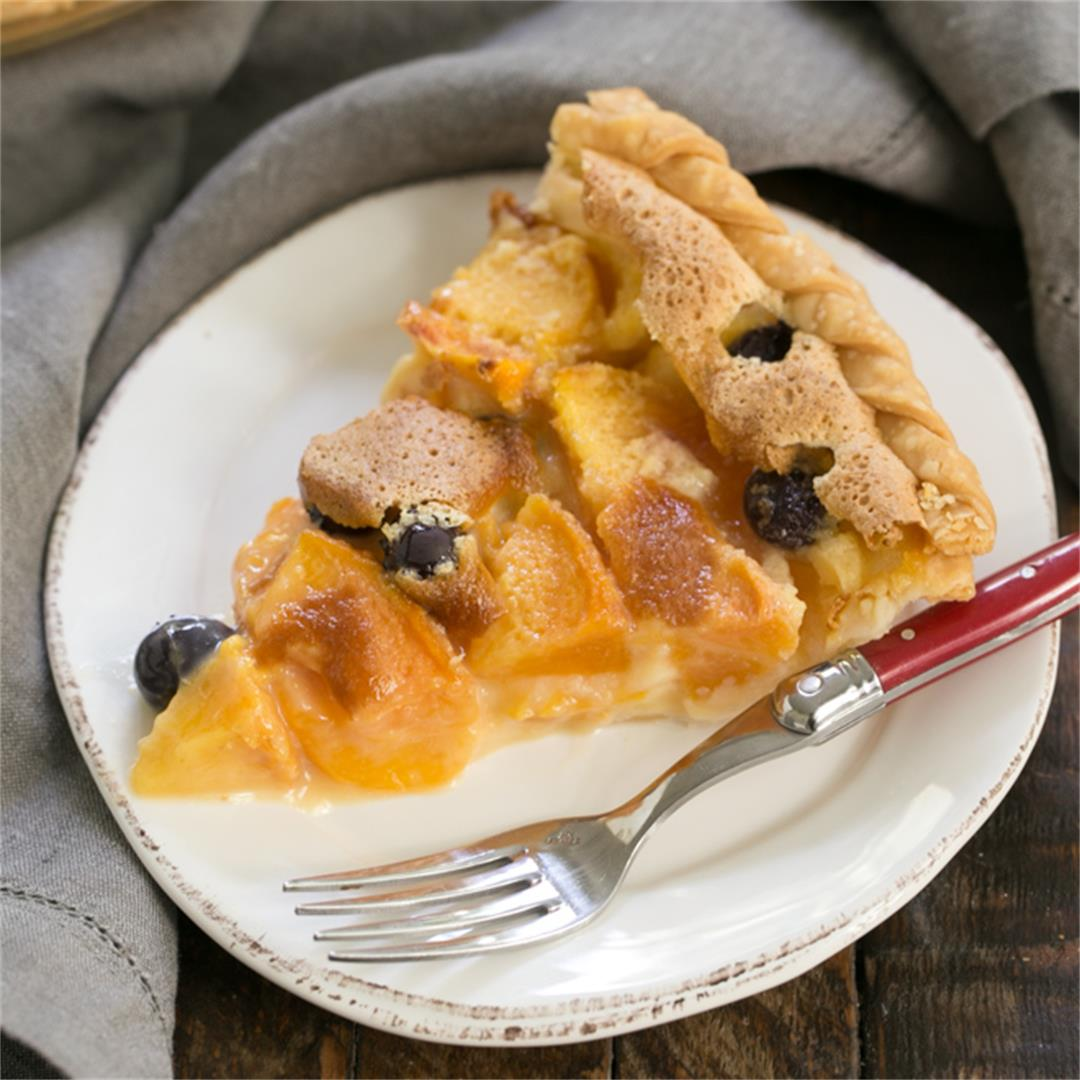 Blueberry Peach Custard Pie