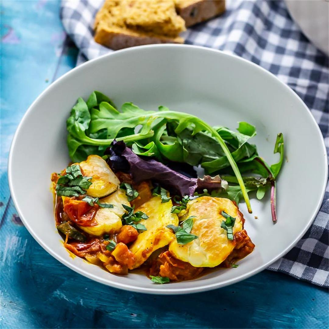 Tomato and Halloumi Bake with Courgette