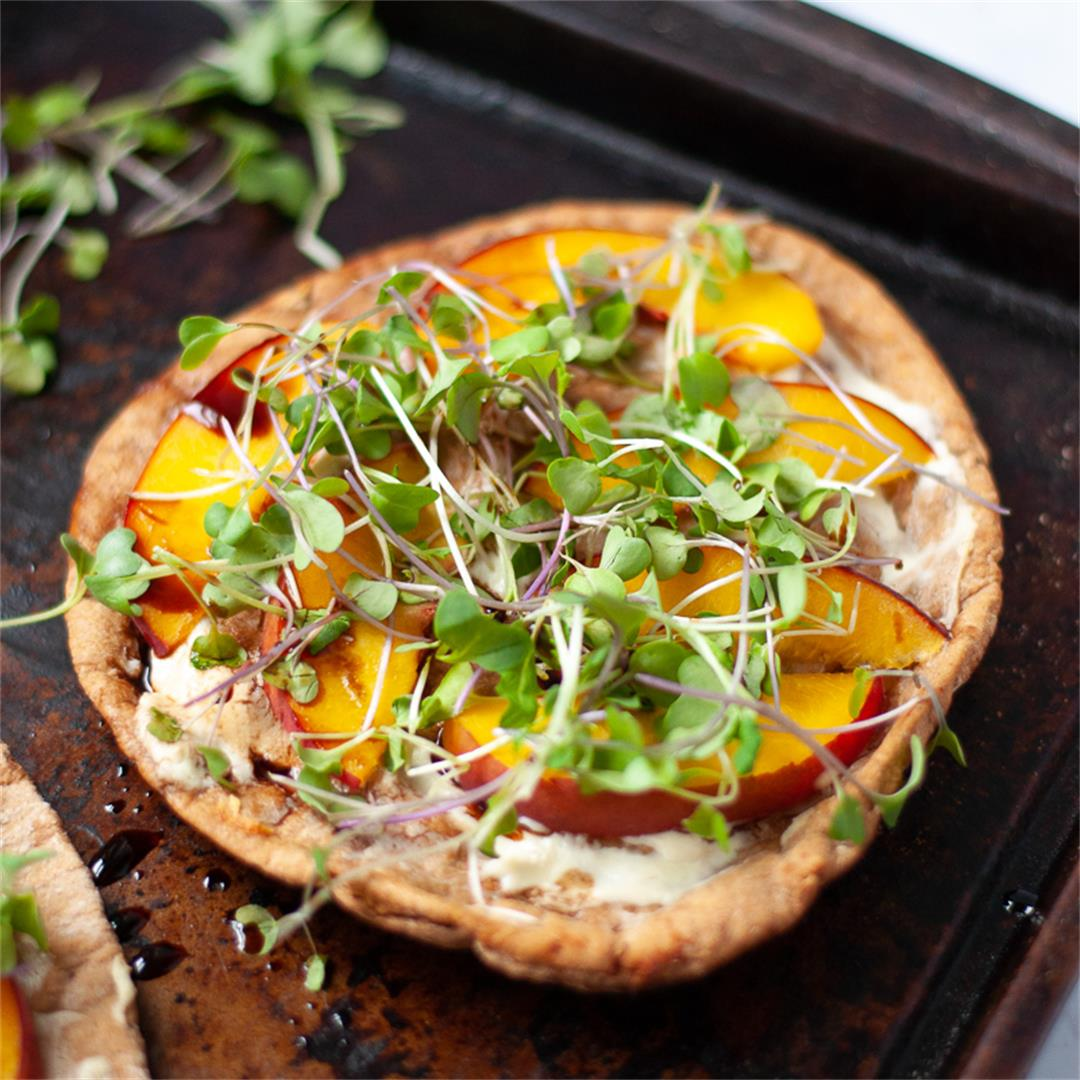 Peach and Goat Cheese Pita Pizza with Microgreens