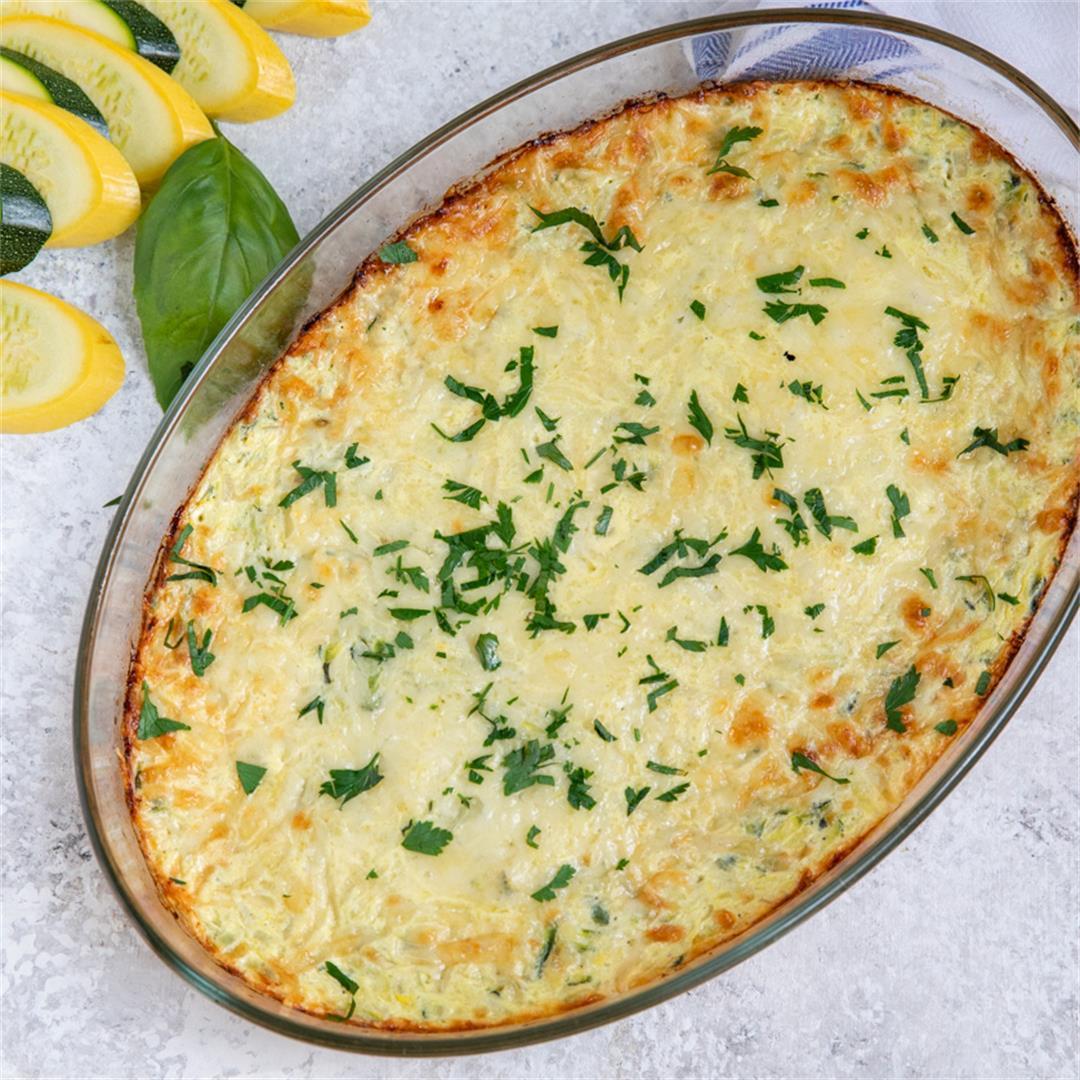 Cheesy Summer Squash and Zucchini Casserole - the perfect side