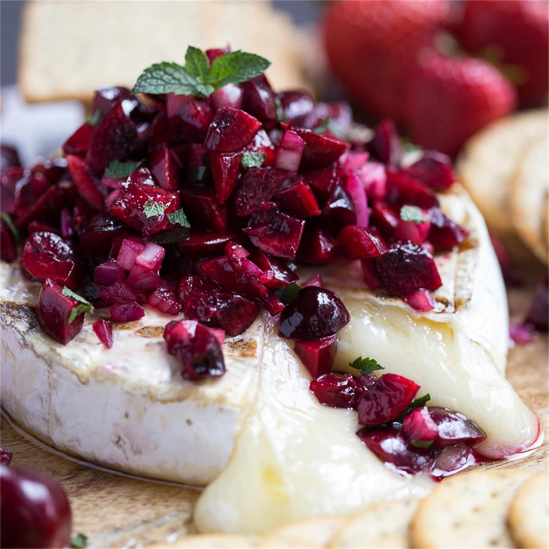 Grilled Brie with Cherry Salsa