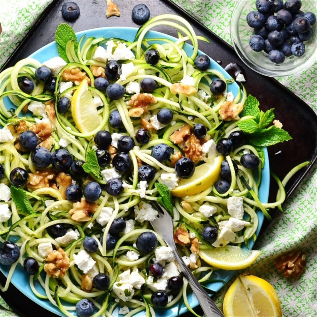 Easy Spiralized Salad with Blueberries and Feta