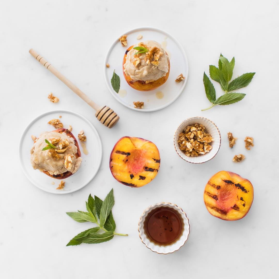 Boozy Banana Ice Cream & Grilled Peaches
