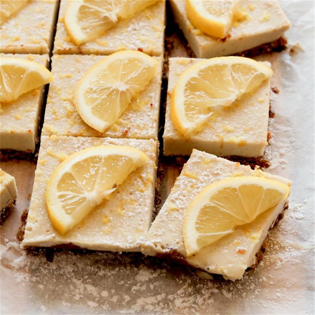 Cool & Refreshing Raw Lemon Cheesecake Squares