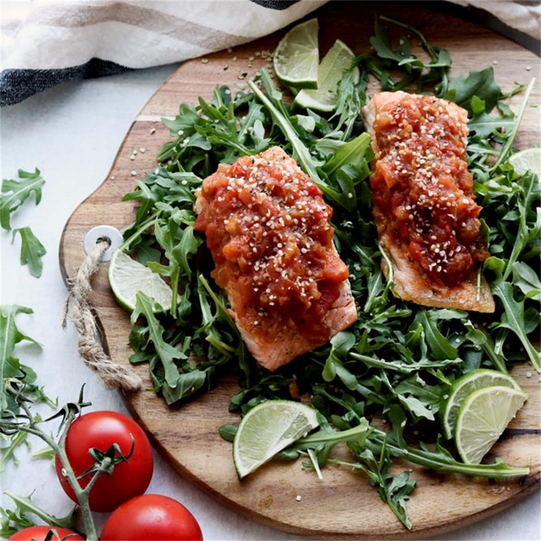 Baked Salmon With Ginger & Soy Tomato Relish