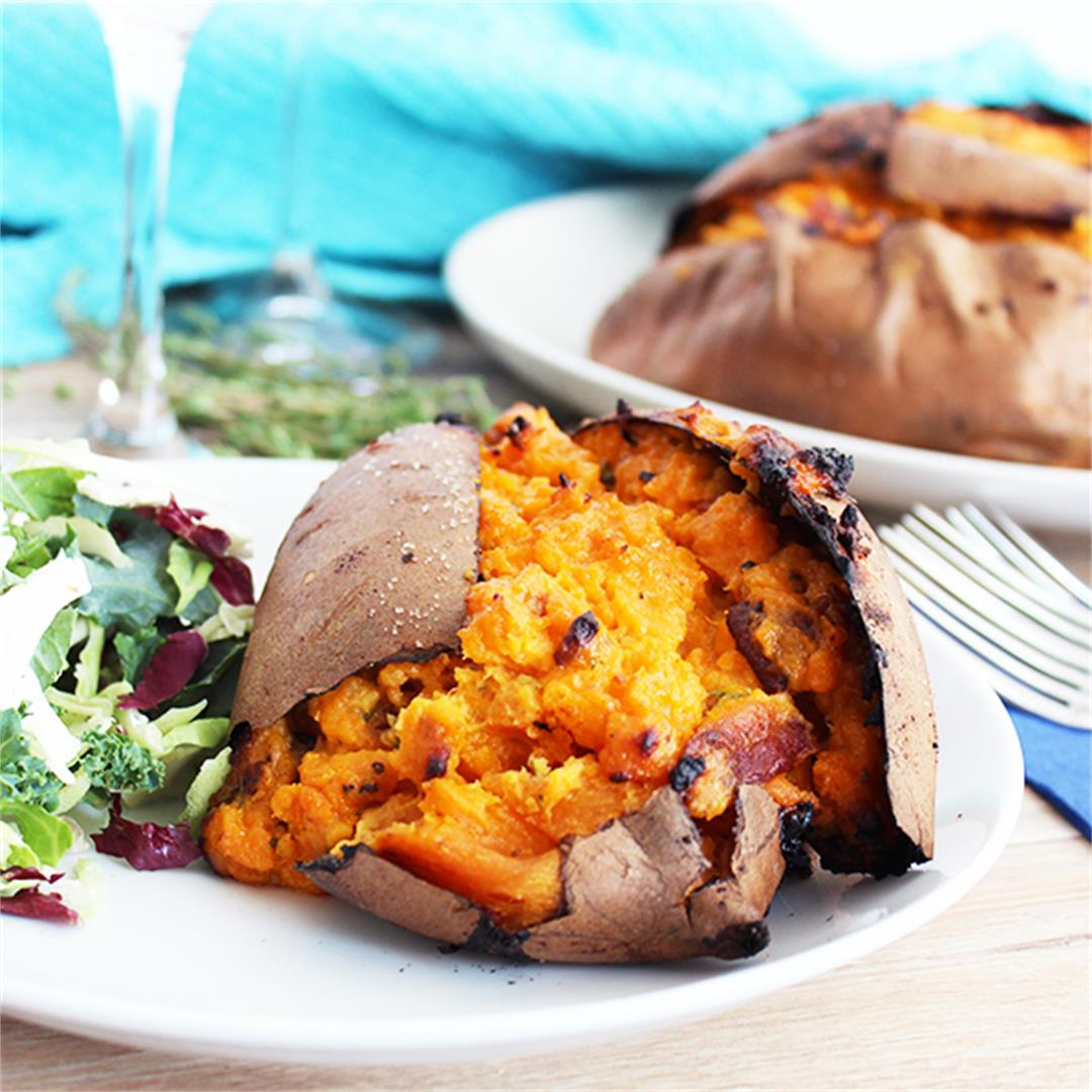 5 Ingredient Twice Baked Stuffed Sweet Potatoes