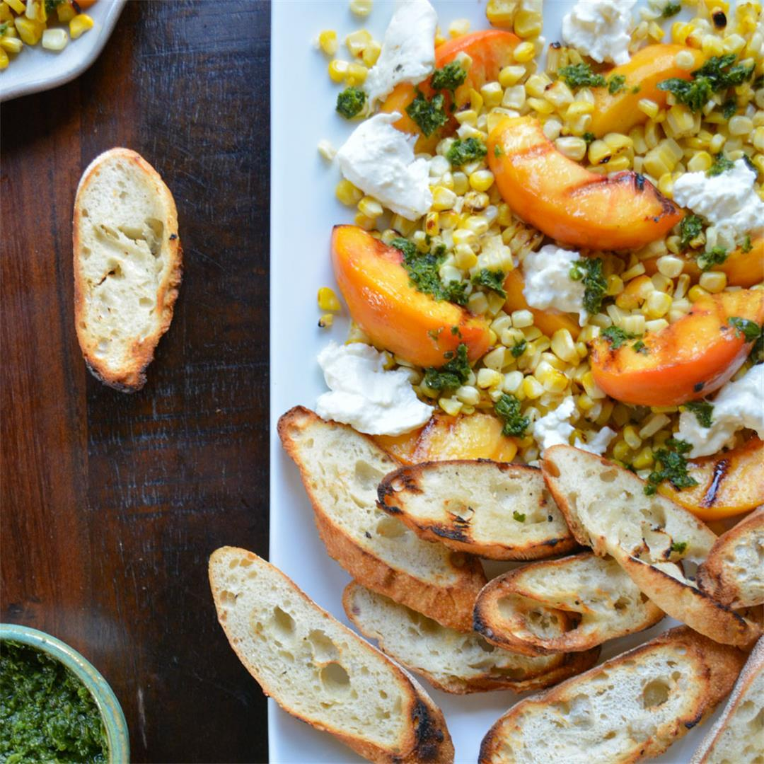 Grilled Peach Crostini with Corn and Burrata