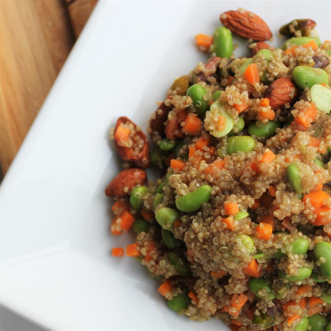 High Protein Nutty Quinoa Salad (Vegan, GF)