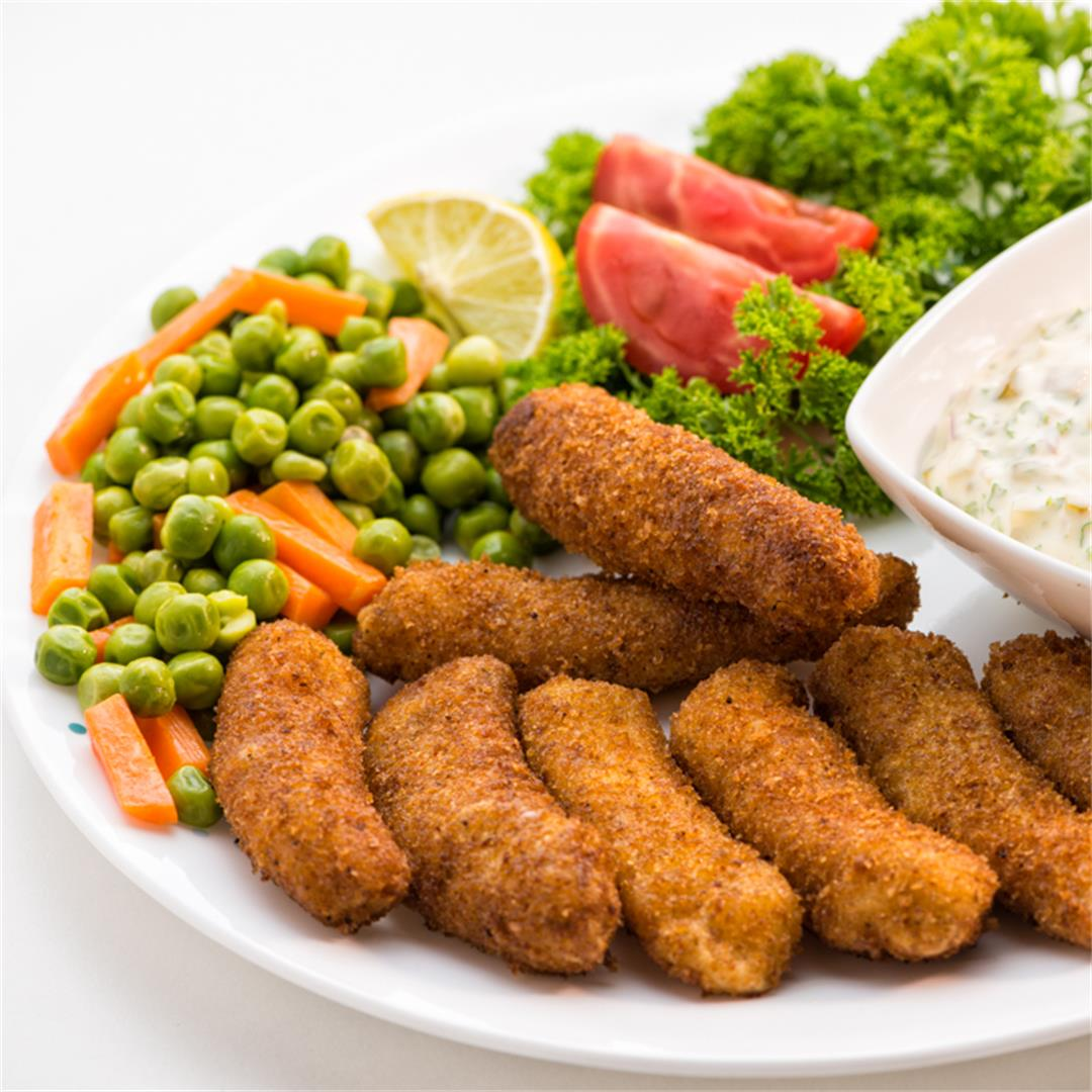 Fish Fingers, Crispy Fish Fingers with Tartar Dip