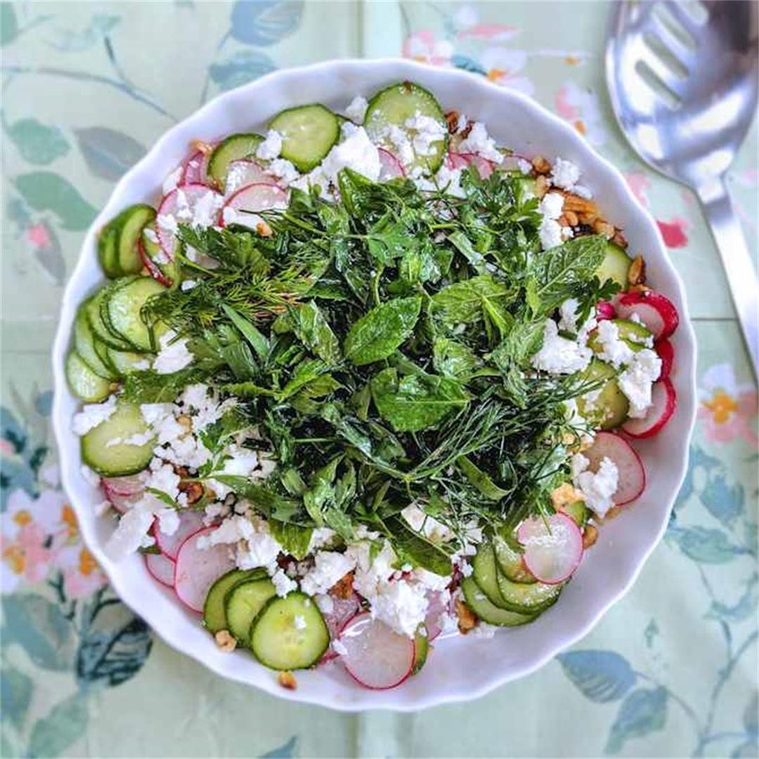 Radish, cucumber and herb salad