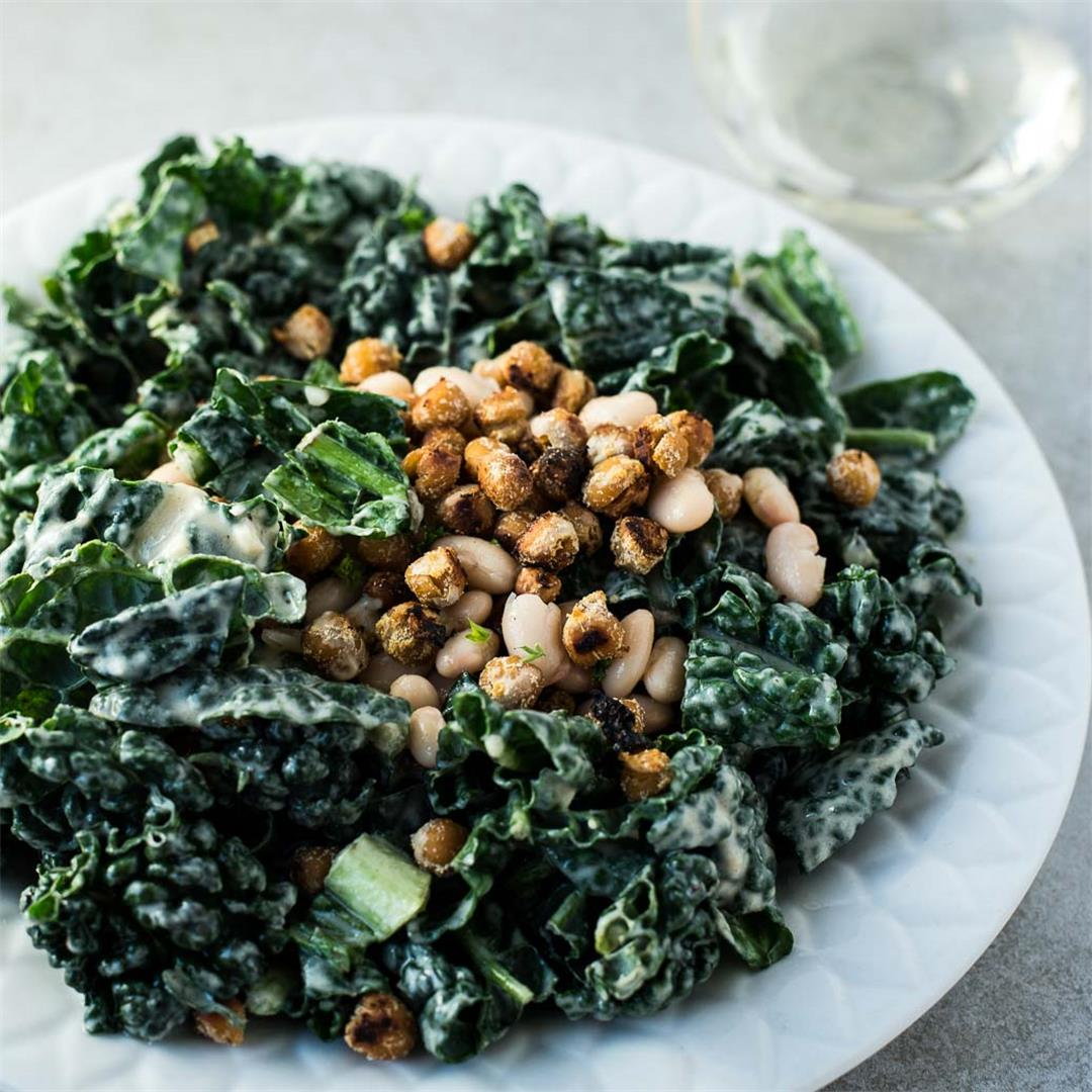Kale Salad with Roasted Chickpea Croutons