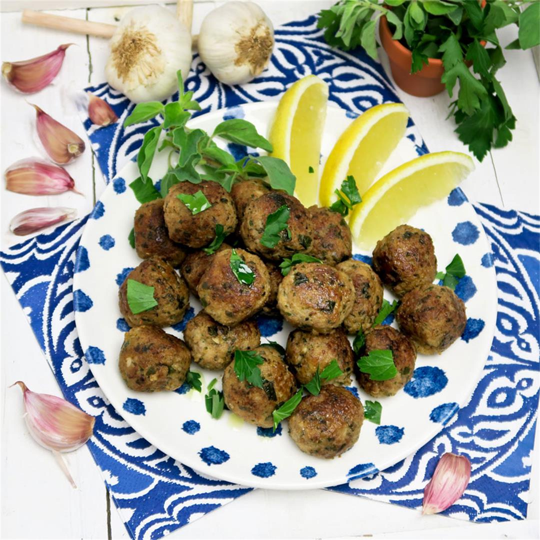 Keftedes or Greek meatballs: juicy lamb meatballs with lemon