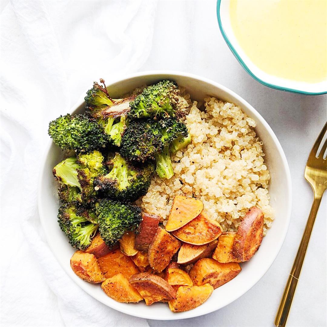 Roasted Veggie Bowls with Sunshine Turmeric Dressing!