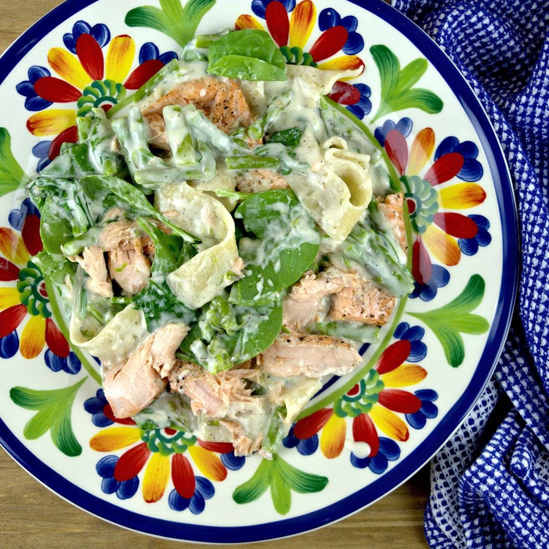 Salmon, Asparagus and Spinach Pappardelle