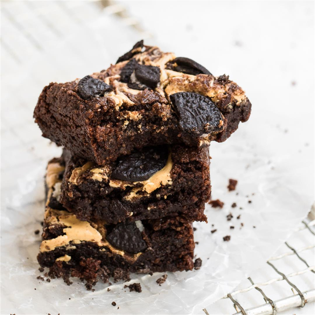 Fudgy Oreo Vegan Brownies with peanut Butter Swirl