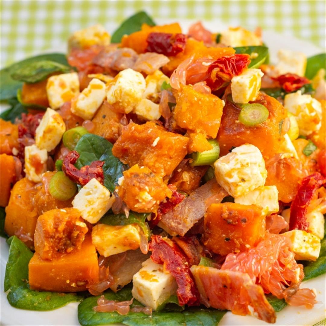 Pumpkin and Feta Salad with Bacon and Grapefruit