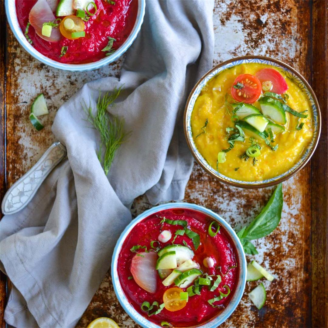 Tomato & Roasted Beet Gazpacho - Colorful, earthy, & refreshing
