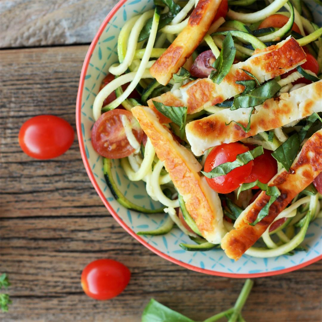 Fried Halloumi With Bruschetta Zoodles