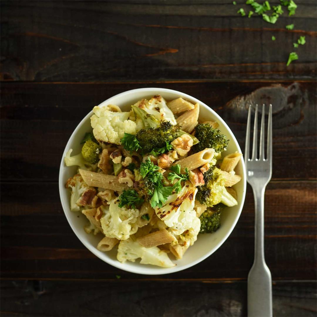 Broccolli Cauliflower Pasta with Tahini Sauce