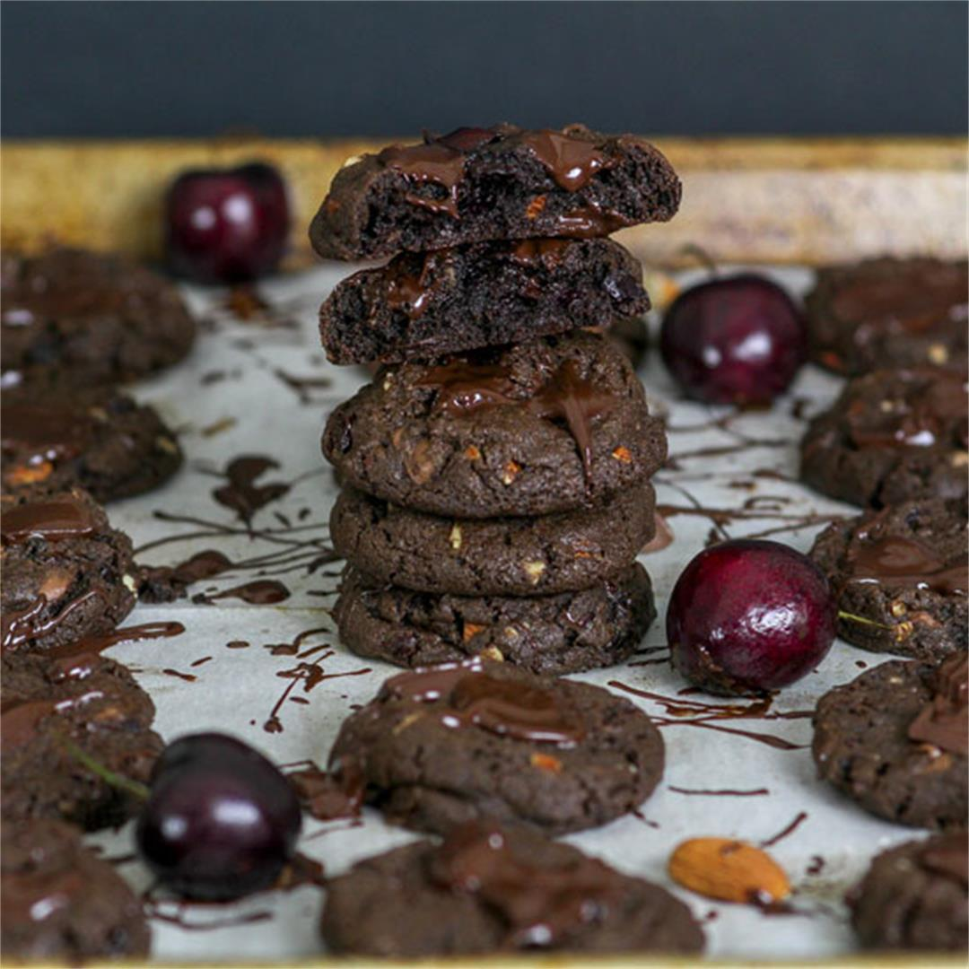 Double Chocolate Tart Cherry & Almond Cookies
