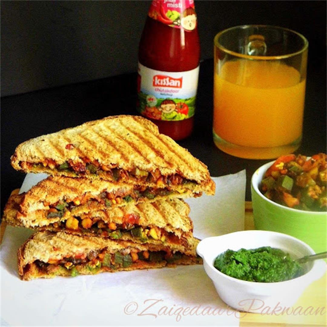 Crunchy Bhindi Grilled Sandwiches (Okra Crunchy Sandwiches)