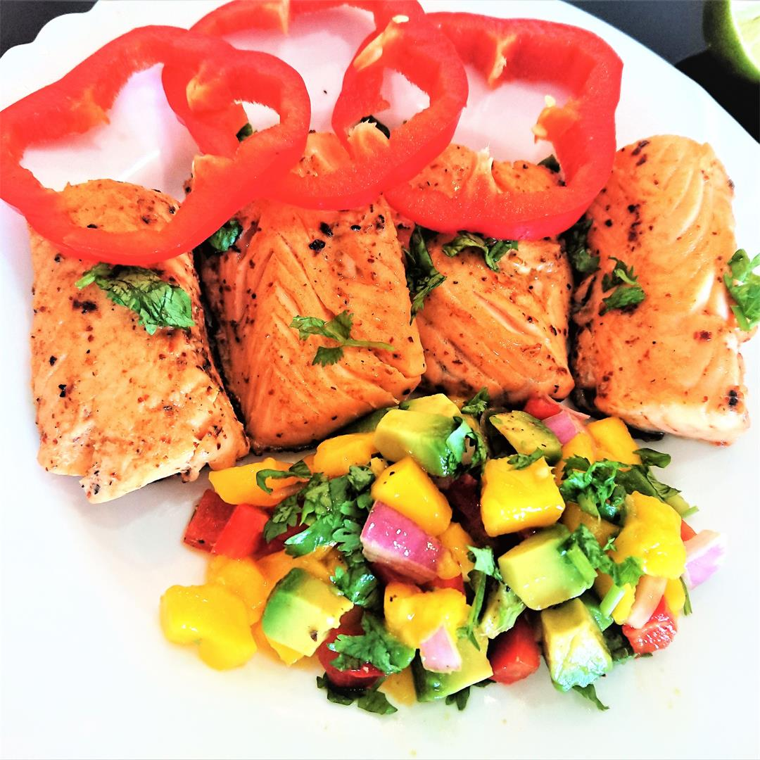 Pan seared salmon with mango-avocado salsa