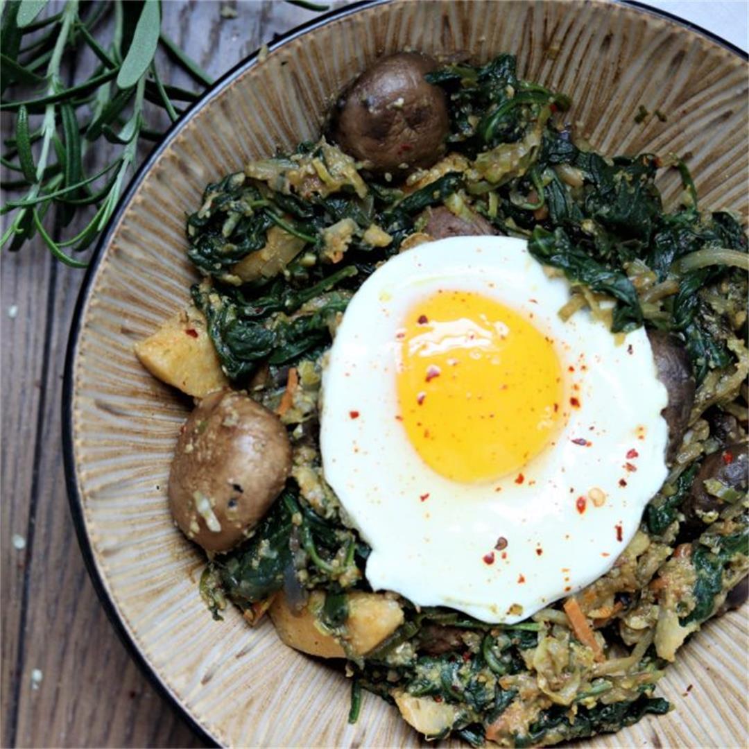 Spinach, Mushroom, Smoky Polenta Bowl