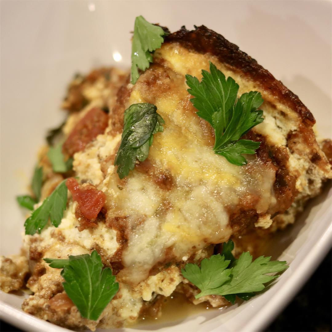 Low-carb Lasagna w/ Cauliflower Pizza Crust