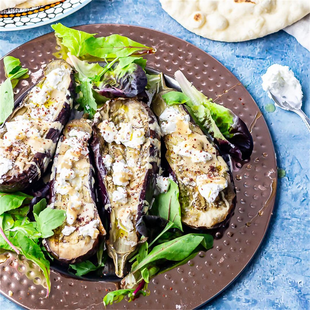 Baked Aubergine with Tahini and Goat's Cheese